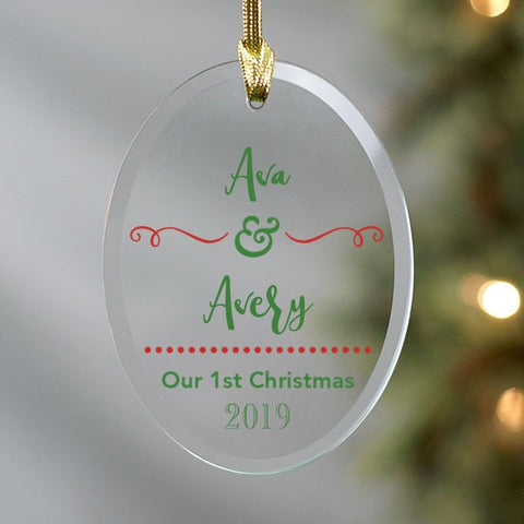 Twins First Christmas Glass Ornament