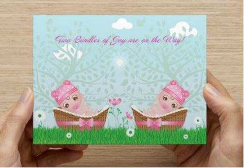 Twin Girls Shower Invitations - 10 Pack - ICD (Bundles of Joy)