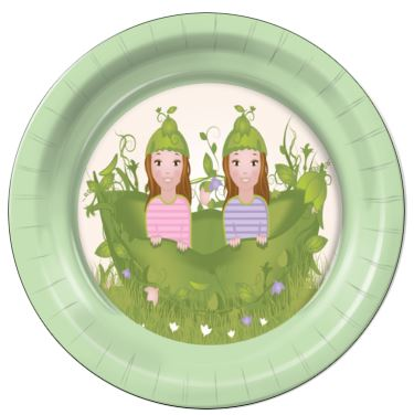 "Two Peas in a Pod Girls 9"" Dinner Plates - 8 Count"