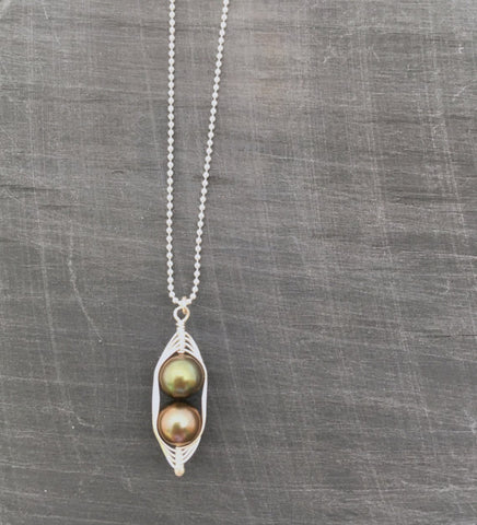 Two Peas in a Pod Necklace - Bronze Forest Pearls - (Additional Pea Count  Available)