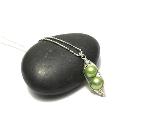 Two Peas in a Pod Necklace (Additional Pea Count Available)