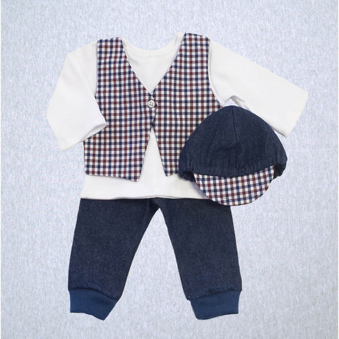 Urban Plaid Set - Shirt/Vest, Pant and Cap (SM Preemie 4-6 lbs, Newborn)