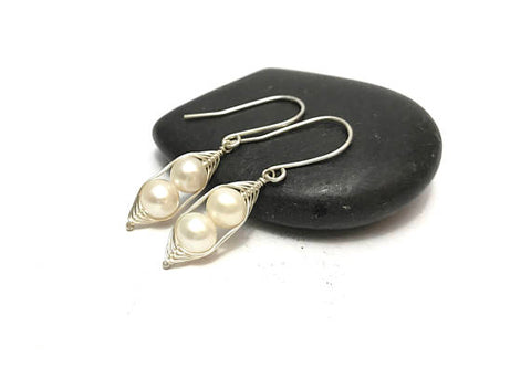 Two Peas in a Pod White Pearl Earrings (Additional Pea Count Available)
