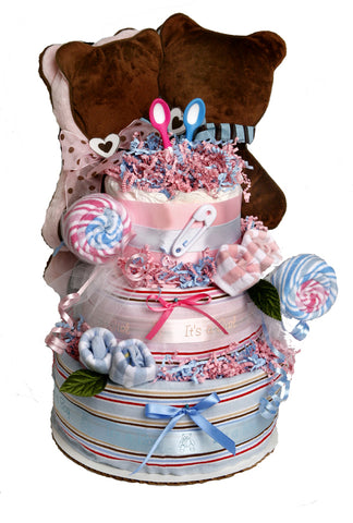 Twins Choco Bear Diaper Cake