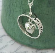 Sterling Silver Personalized Heart Ring Necklace