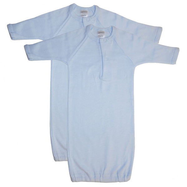Preemie Blue Rib Knit Gown - 2 Pack
