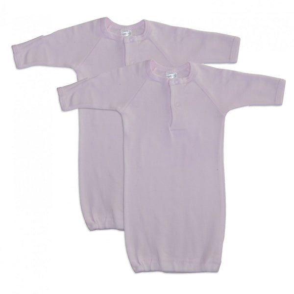 Preemie Pink Rib Knit Gown - 2 Pack