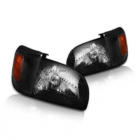 Instyleparts Toyota Tacoma Pickup Clear Lens Headlights and Corner Lights with Black Housing