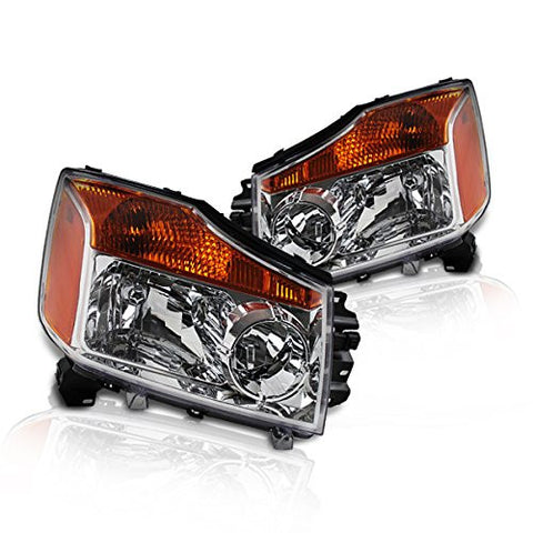 Instyleparts Nissan Titan Armada Clear Lens Headlights with Chrome Housing