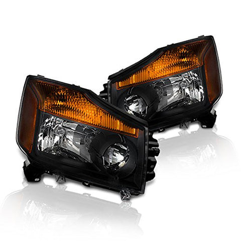Instyleparts Nissan Titan Armada Clear Lens Headlights with Black Housing