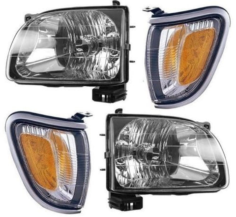 Instyleparts Toyota Tacoma Pickup Clear Lens Headlights and Corner Lights with Chrome Housing