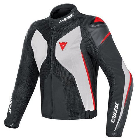 DAINESE SUPER RIDER PERF BLACK WHITE RED FLUO - Blouson Cuir
