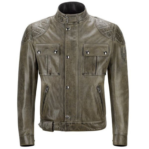 BELSTAFF BROOKLANDS LEATHER COMBAT GREEN - Blouson Cuir