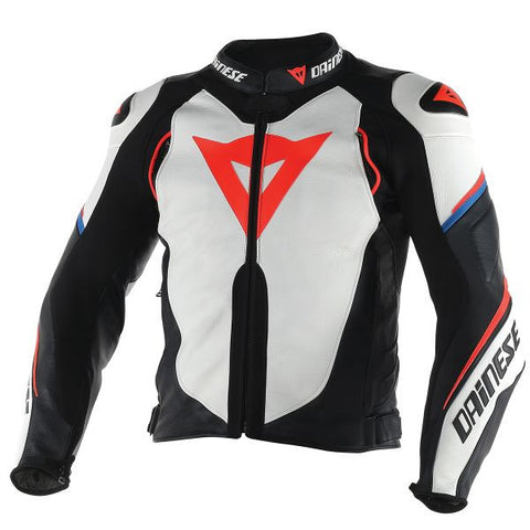 DAINESE SUPER SPEED D1 WHITE BLACK RED FLUO - Blouson Cuir