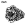2016 Fashion Vintage Rings For Women Silver Plated Jewelry Tibetan Silver Alloy Black Crystal Ring Sold Cheap