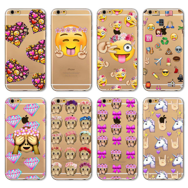 2016 Funny Phone Case For Apple iPhone 7 6 6s 5 5S SE 7Plus 6sPlus 4 4S Cover Transparent Silicon Monkey Emoji Mobile Phone Bag