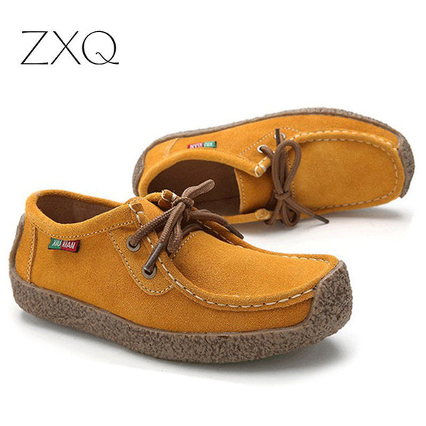 2016 autumn women casual shoes cowhile leather flats shoes women oxfords for women moccasins ladies shoes women boat shoes
