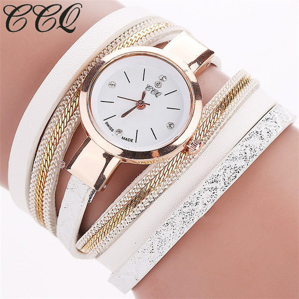 2016 CCQ New Fashion Leather Bracelet Watches Casual Women Wristwatch Luxury Quartz Watch Relogio Feminino Gift C39