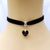1 PCS Unisex Women Men Lover Gothic Velvet Heart Crystal Choker Handmade Necklace Pendant Torques Retro 80 90s New Jewelry