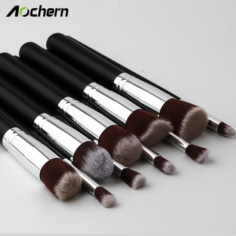 Aochern 10pcs/set High Quality New Makeup Brushes Beauty Cosmetics Foundation Blending Blush Make up Brush tool Kit Set