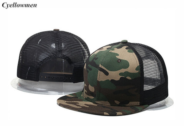 2016 New Fashion Blank mesh camo Snapback Hats Adjustable Gorras Hip Hop Casual Baseball Caps for Men Women bone Casquettes