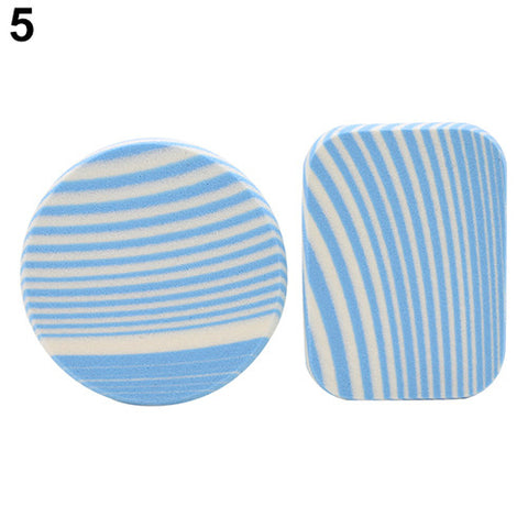 2016 Top Quality Hot2Pcs Zebra Stripes Makeup Soft Sponge Round Square Cosmetic Face Powder Puff 8BD9