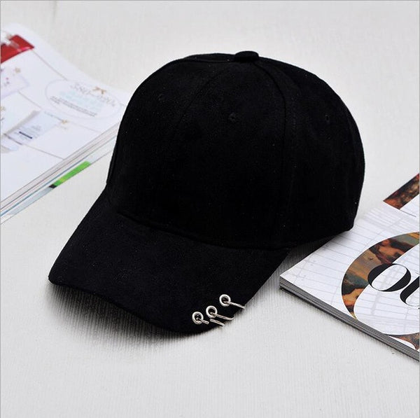 2016 Gd unisex solid Ring Safety Pin curved hats baseball cap men women Suede snapback caps sport casquette gorras