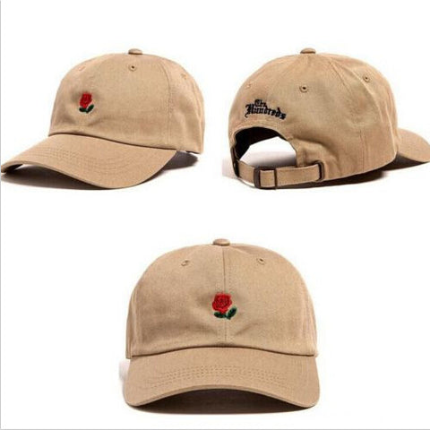 The Hundreds Rose Embroidered Hat Baseball Cap Fashion Unique Adjustable Embroidered Rose Hats