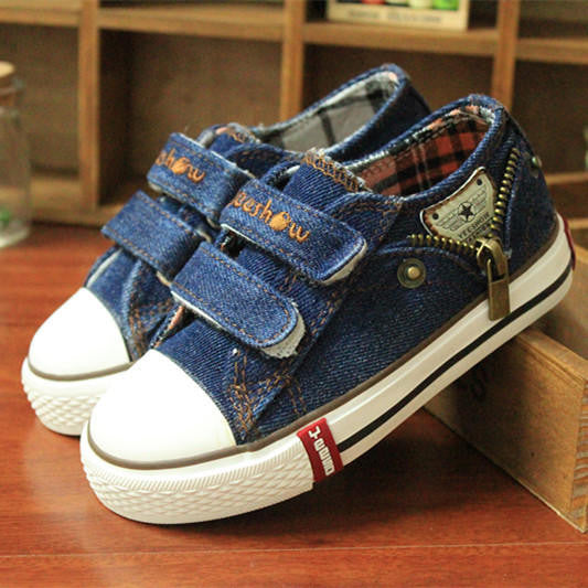 14 kinds New Arrived Size 25-37 Children Shoes Kids Canvas Sneakers Boys Jeans Flats Girls Boots Denim Side Zipper Shoes