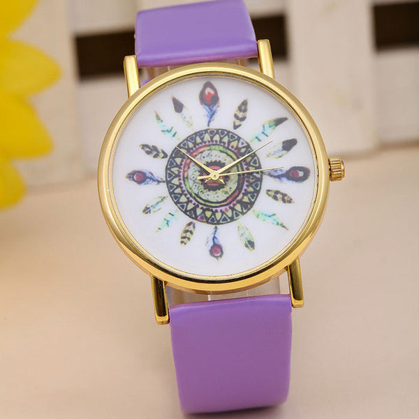 2016! 11 Colors Original Women Genuine Leather Vintage Women Watches,Bracelet Wristwatches, Feather Dial watches Drop Shipping