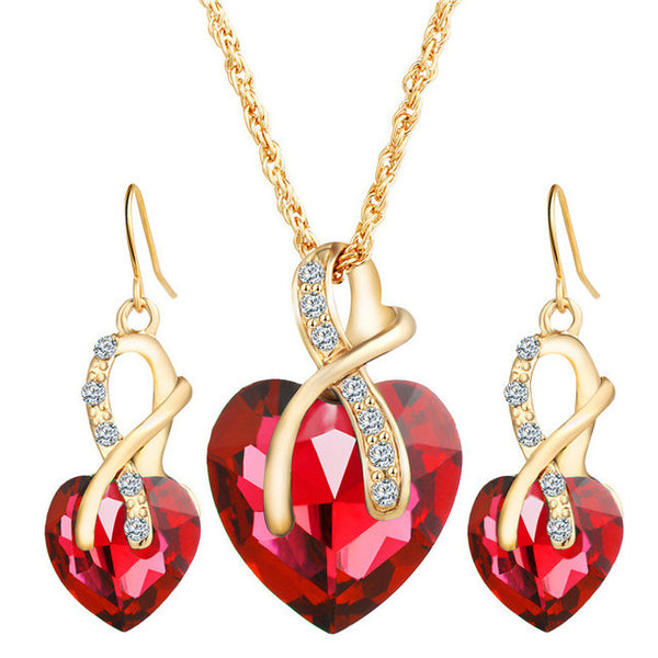 17KM 2016 Gold Color Love Crystal Heart Jewelry Sets For Women Necklace Earrings Jewellery Set Bridal Wedding Accessories