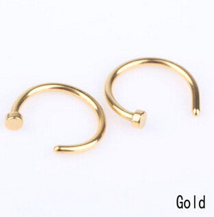 2 Pcs/Lot 5 Colors Nose Hoop Nose Rings Stainless Steel Body Piercing Jewelry Body Jewelry Drop Shipping