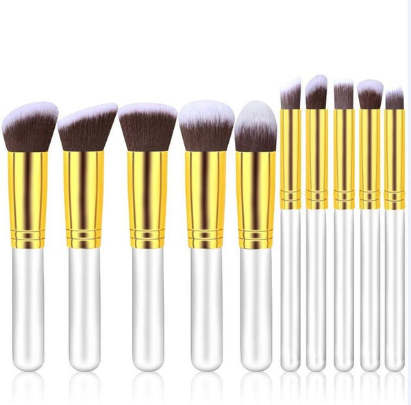 10pcs Professional Cosmetic Makeup Brushes Set Foundation Golden Sliver hand to make up Brush Eyeshadow Makeup Tools Wholesale