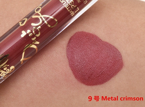 12 Colors Lip Gloss Matte Liquid Lipstick Waterproof Long Lasting Metallic Golden Lip Gloss Tattoo Easy To Wear kyli Cosmetics