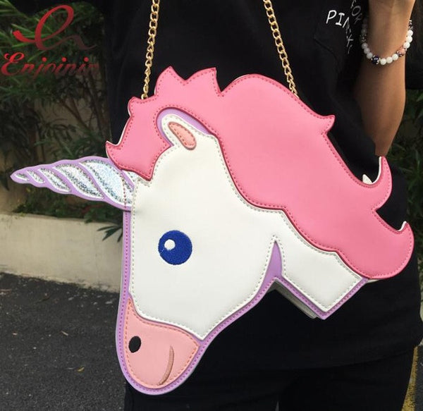 2016 Fun fashion personality fashion trends laser unicorn modeling mini chain shoulder bag ladies handbag messenger bags purse