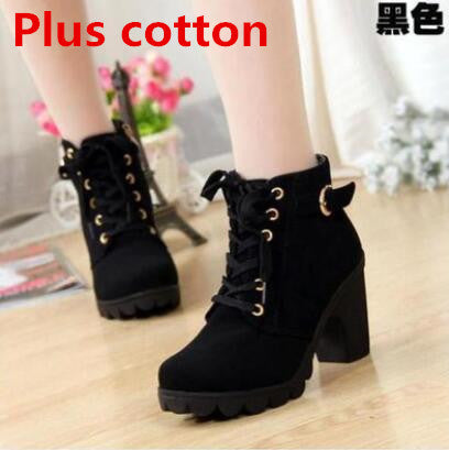 2016 New Autumn Winter Women Boots High Quality Solid Lace-up European Ladies shoes PU Leather Fashion Boots Free Shipping