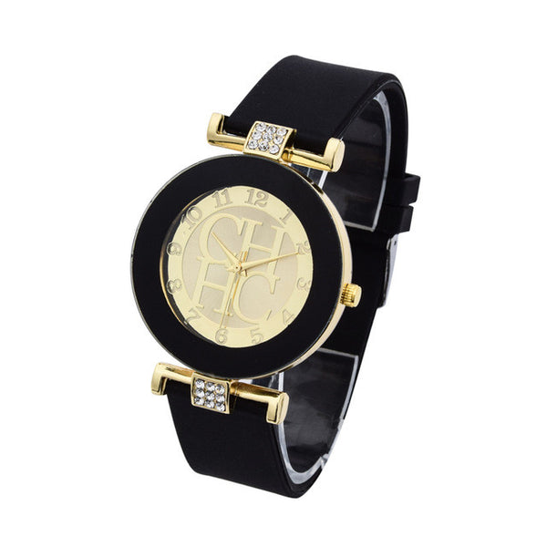 2016 New arrival Famous Brand Watches Women Gold Quartz Watch Silicone Jelly Color Rhinestone watch Casual Analog Wristwatches