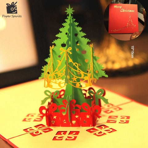 Merry Christmas Tree Vintage 3D laser cut pop up