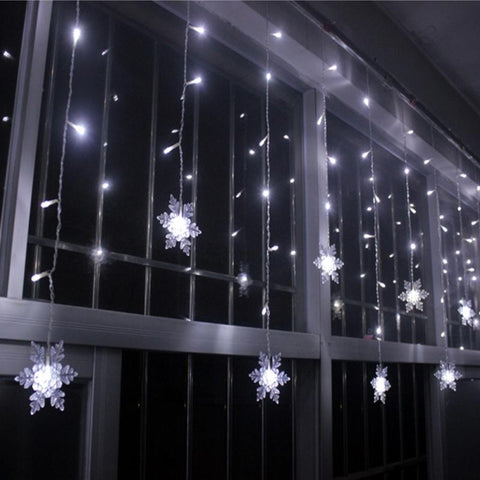 16 pcs Snowflake Curtain Light