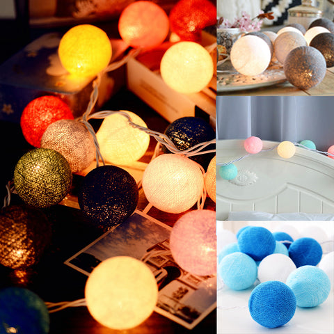 Multicolor  Warm White Led Cotton ball String Light
