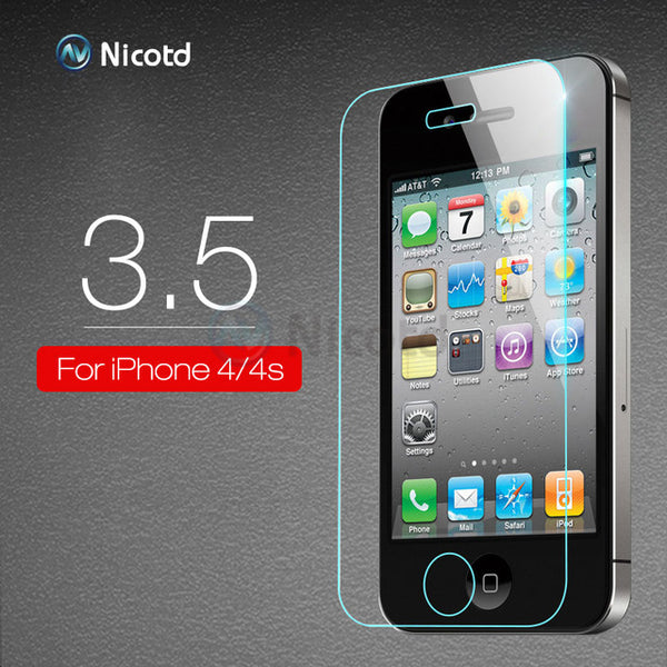 10Pcs Nicotd 2.5D HD Clear Tempered Glass For iPhone 8 7 6 6 Plus 5 5s 5c 4s 4 Anti-Shock Screen Protector Film For iPhone X 10
