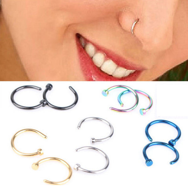 1 piece Hot Sale Cool Stainless Steel Nose Open Hoop Ring Earring Body Piercing Nose Studs Women Men Studs Jewelry Free Shipping