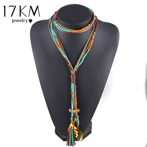 17KM Maxi colar Facet Beads Necklaces For Women Multi layer Long Necklace Statement Jewelry Collares Collier joyas