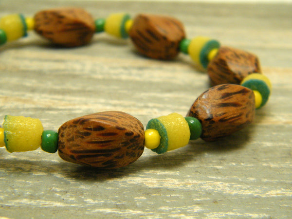 Palmwood, Recycled and Vintage Glass Bead Bracelet
