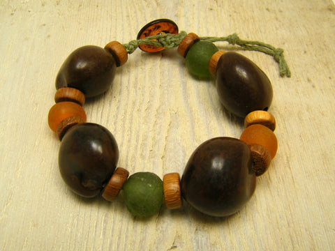 Kukui Nut and Recycled Glass Hemp Bracelet - Kukui Nut Bracelet