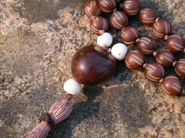 Large Brown Carved Buri Mala