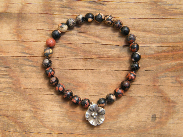 Positivity Pocket Mala - Mexican Red Snowflake Jasper Pocket Mala
