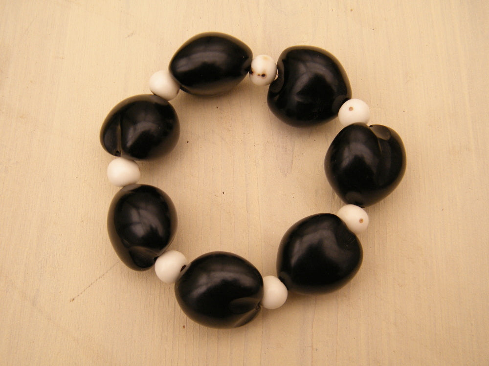 Black Kukui Nut and Anahaw Seed Bracelet