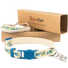 Blue kitten collar with safety breakaway buckle and friendship bracelet for you, ID tag tube included