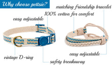 pettsie-blue-cat-collar-breakaway-safety-matching-friendship-bracelet-easy-adjustable-cotton-features
